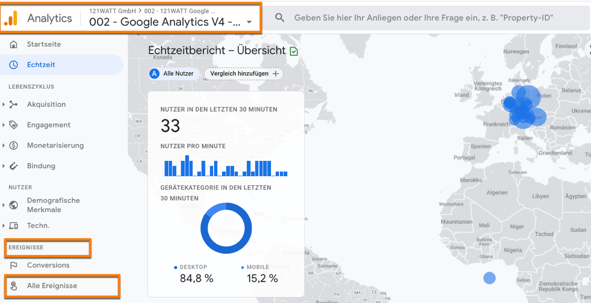 Ereignisse in Google Analytics 4
