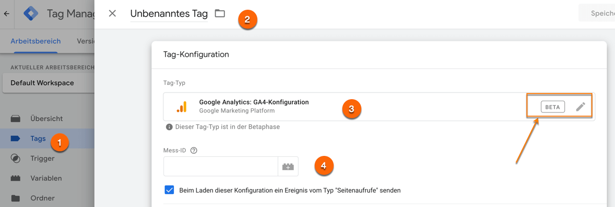 Integration von Google Analytics 4 über den Google Tag Manager mit dem GA4 Konfigurationstag