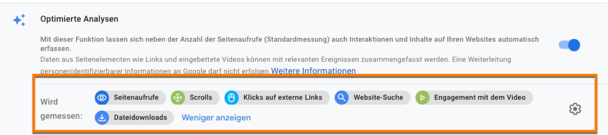 Diese Interkationen kannst du in Google Analytics 4 über die Webdatenströme messen!