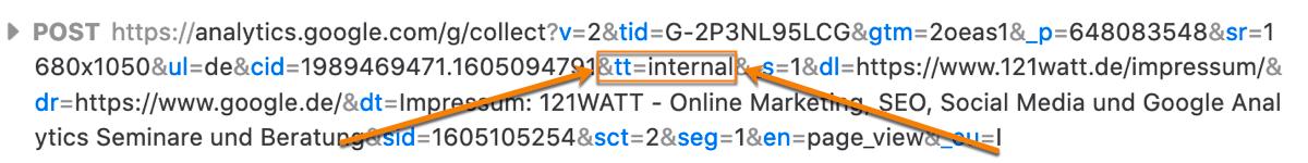 So sehen deine interne Zugriffe über die Google Chrome Entwicklerconsole aus!