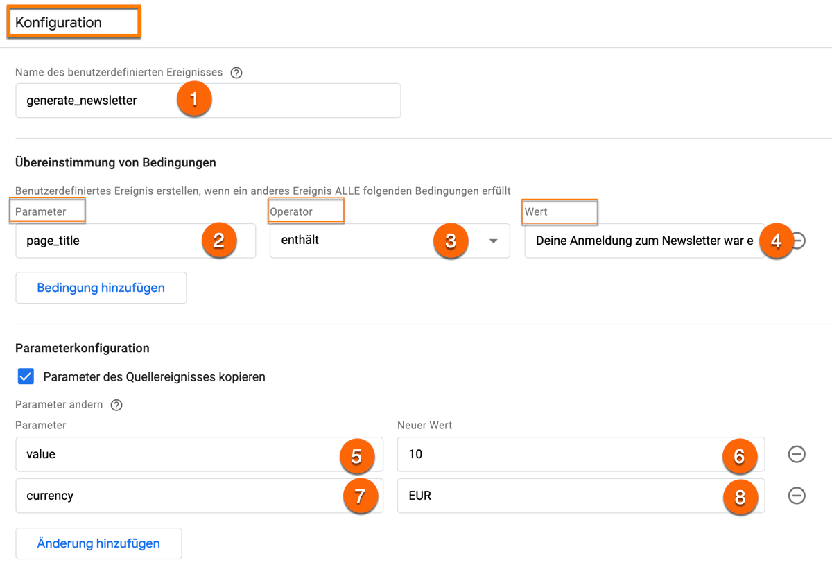 So sieht die Parameterkonfiguration eines benutzerdefinierten Ereignisses in Google Analytics (GA4) aus am Beispiel einer Newsletteranmeldung