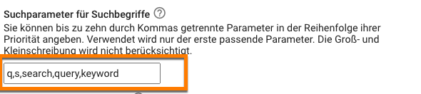 Suchparameter in Google Analytics in den Details des Webdatenstroms konfigurieren