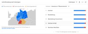 Google Trends Beispiel 3 - Verteilung der Begriffe in Deutschland