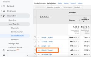 hier findest du direct/none in Google Analytics