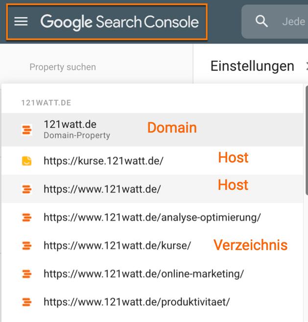 Google Search Console Properties zwischen Domain-Property, Hosts und Verzeichnissen