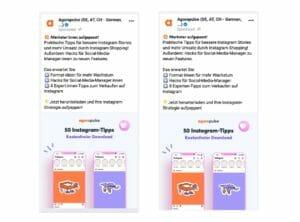 Der Vergleich zwischen zwei Social Ads: Einmal gegendert und einmal nicht