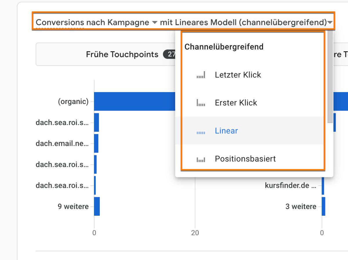 Das neue Google Analytics 4 (GA4) Modellvergleichstool mit den verschiedenen Attributionsmodellen