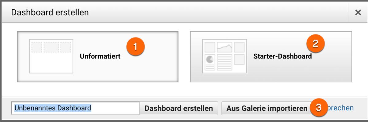 Optionen bei der Erstellung von Dashboards in Google Analytics