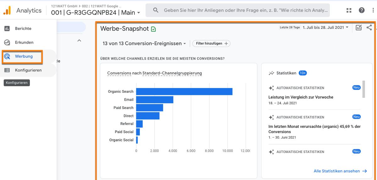 Der Bericht Werbung in Google Analytics 4