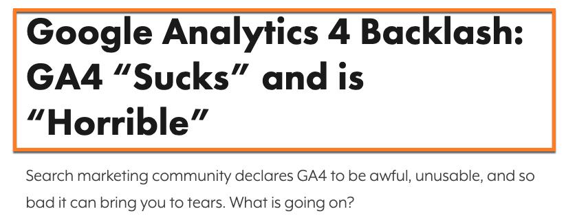 Google Analytics 4 sucks and is horrible